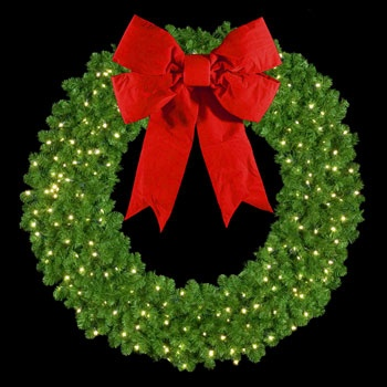 "36"" Unlit Mountain Pine Wreath with 16"" 3-D Red Velvet Structural Bow, Wall Mount"