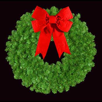 "48"" Unlit Mountain Pine Wreath with 18"" 3-D Red Velvet Structural Bow, Wall Mount"