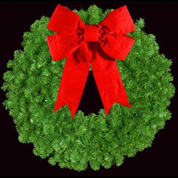 "48"" Unlit Mountain Pine Wreath with 24"" 3-D Red Velvet Structural Bow, Wall Mount"