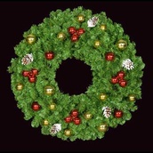 "36"" Unlit Mountain Pine Deluxe Wreath with Red and Gold Ornaments, Wall Mount"