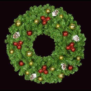 "48"" Unlit Mountain Pine Deluxe Wreath with Red and Gold Ornaments, Wall Mount"
