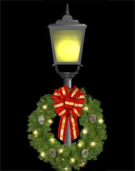 """36"""" Wreath with Red and Gold Puff Bow, Single Faced Center Mount"""