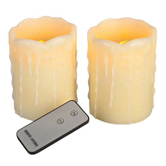 "4.5""H Remote Controlled 2pc Set Battery Operated Flameless LED Candle in Ivory"