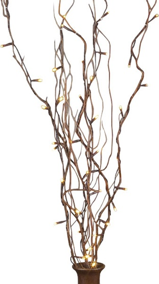 "39"" Battery Operated Brown LED Willow Branches, 5pc"