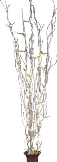 "39"" Battery Operated Silver LED Willow Branches, 5pc"