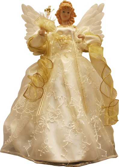 "14"" Gold and Ivory Animated Fiber Optic Angel Tree Topper"