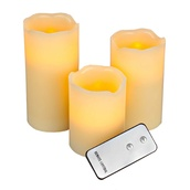 3pc Remote Controlled Battery Operated Flameless LED Candle Set in Ivory