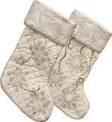 "18"" White and Silver Snow Flake Stockings, 2 Piece Set"