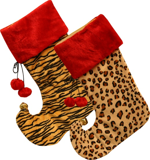 "19"" Animal Print Stockings, 2 Piece Set"