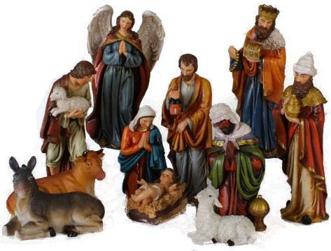 "11""H Christmas Nativity Set, 11 Piece Set"