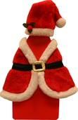 Red Plush Santa Hat and Shawl Wine Bottle Cover