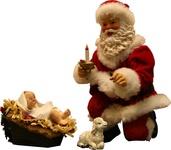 "10"" Santa Kneeling with Nativity"