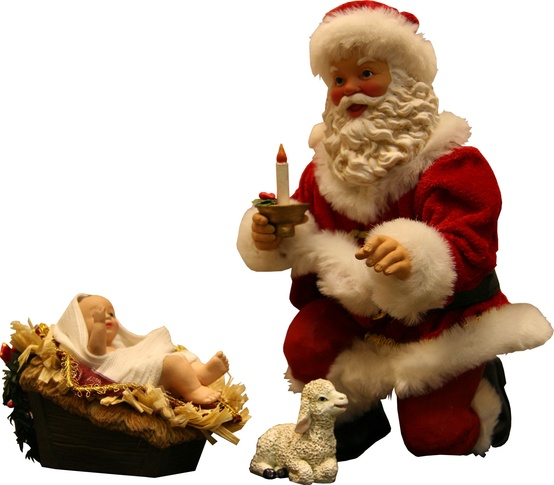 "10"" Santa Kneeling with Nativity"