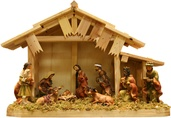 "13"" Nativity Set with Wooden Stable and Ten Figures"