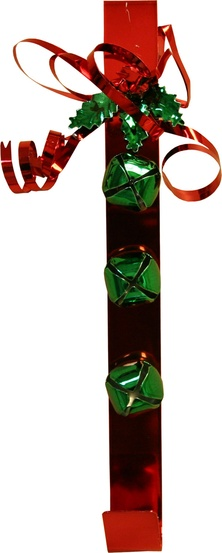 "15"" Red Metal with Green Bells and Bow Door Wreath Hanger"