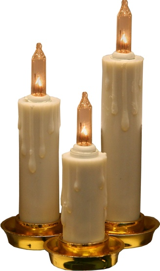15-Count Triple Ivory Candle Light Bulb Set with Dripping Wax