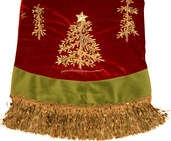 "50"" Burgundy and Green Tassel with Tree and Ribbon Tree Skirt"