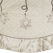 "48"" White Christmas Tree Skirt with Silver Trim"