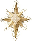 "12.5"" 8 point ornate Bethlehem Star with Scrolled Wire Decor"