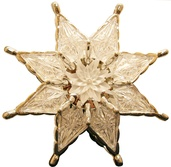 "7"" 8 Point Silver Star with Waterlily Center"