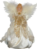 "12"" Ivory and Gold Angel Treetopper"