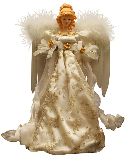 "14"" Ivory and Gold Angel Tree Topper"