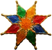"7"" 8 Point Multicolor Star with Waterlily Center"