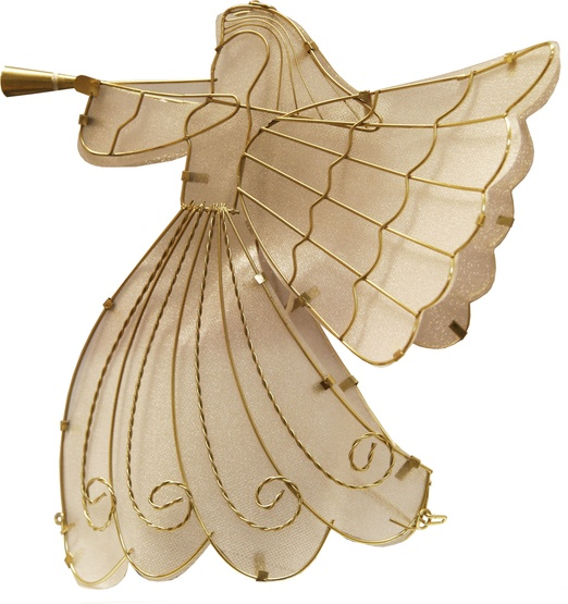 "24"" Frosted White Glass Angel Tree Topper"