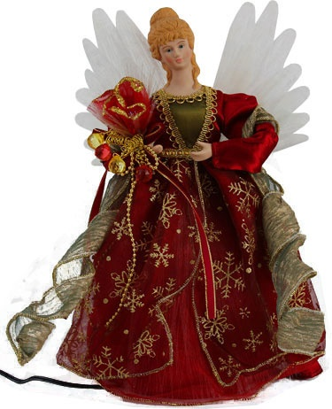 "12"" Burgundy Fiber Optic LED Angel Tree Topper"