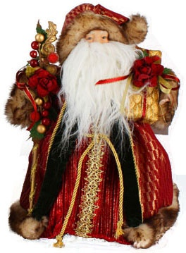 "12"" Burgundy and Green Santa Tree Topper"