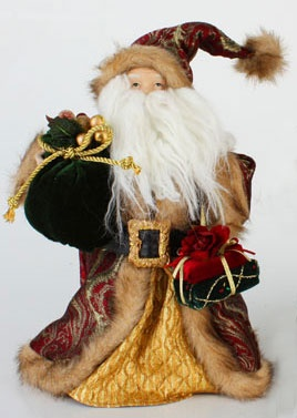 "12"" Green and Gold Old Fashioned Santa Tree Topper"