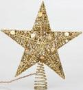 "10"" Glitter Gold Wire Star Tree Topper"
