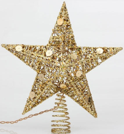 "10"" Glitter Gold Wire Star Tree Topper"