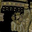 Black Velvet Nativity Stocking with Gold Beads