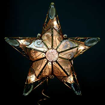 "8"" Lighted Capiz Arabesque Clear Star Tree Topper"
