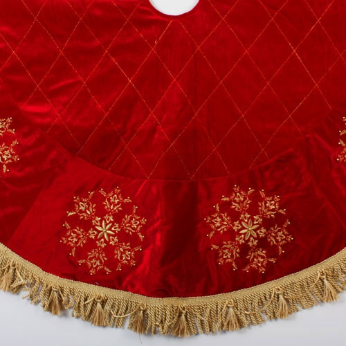 "54"" Red Christmas Tree Skirt with Gold Snowflakes"
