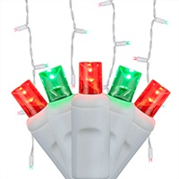 red and green icicle Christmas lights