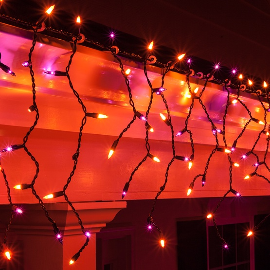 150 purple, orange halloween icicle lights