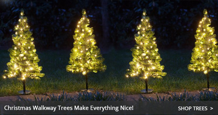 Walkway Christmas Trees. outdoor christmas wreaths - Outdoor Christmas Decorations