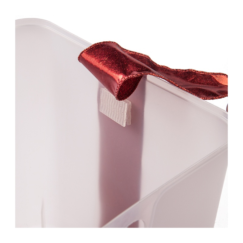 Use velcro strips to attach decorative ribbon to your lighted gift box container