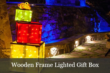 Create wooden frame lighted gift boxes