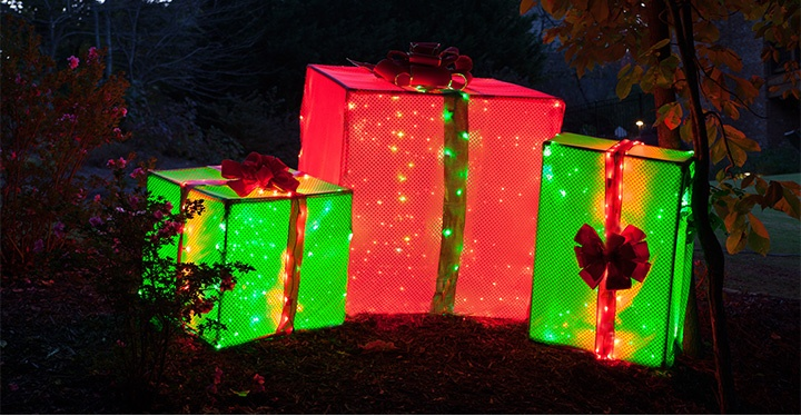 Pvc frame lighted gift boxes giant outdoor lighted christmas presents for the yard aloadofball Gallery