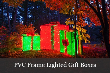 Make giant lighted gift boxes using a pvc frame.
