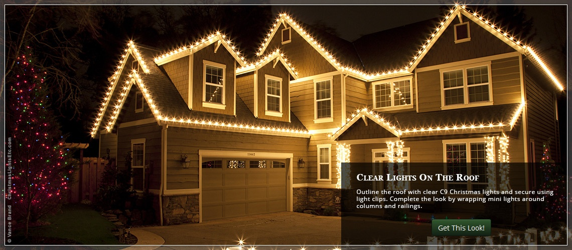 Outdoor House Lighting Ideas. Hang C9 Christmas Lights Across The Roof  Outdoor House Lighting Ideas