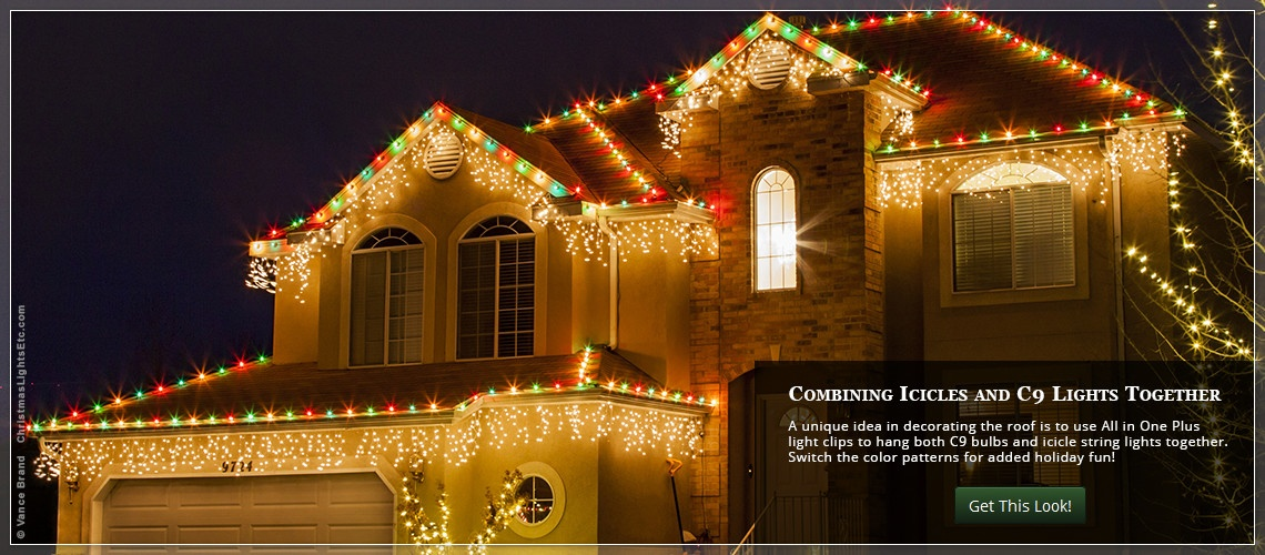C9 christmas lights and icicle string lights hanging together across the  roof - Outdoor Christmas Lights Ideas For The Roof