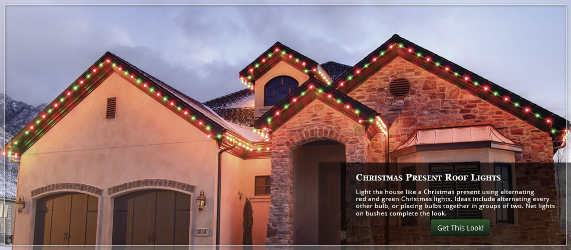 Red And Green Christmas Lights Outdoor Photo Album