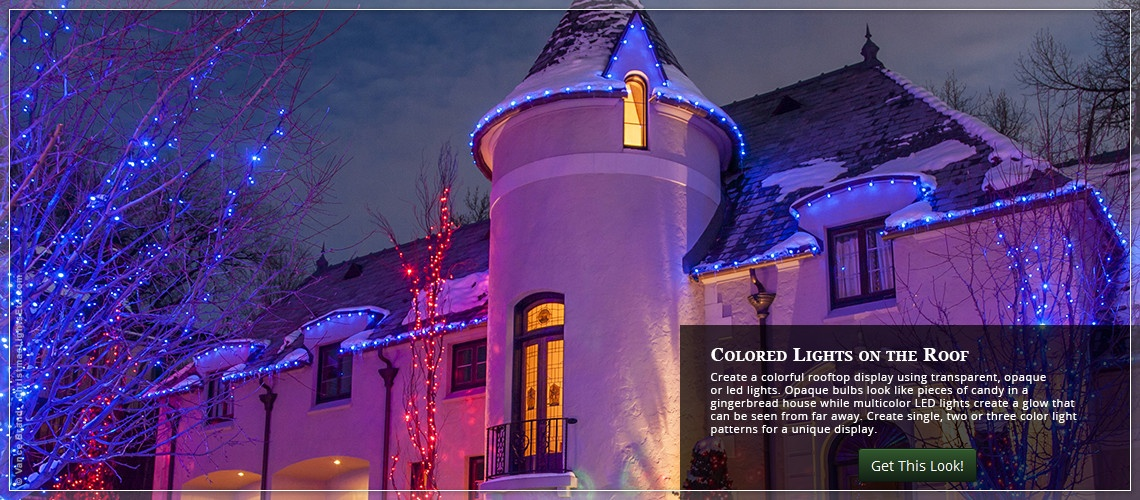 colorful christmas roof lights ideas