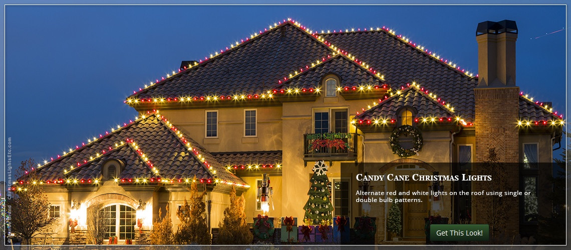Outdoor christmas lights ideas for the roof red and white candy cane themed roof lights twinkle christmas aloadofball Image collections