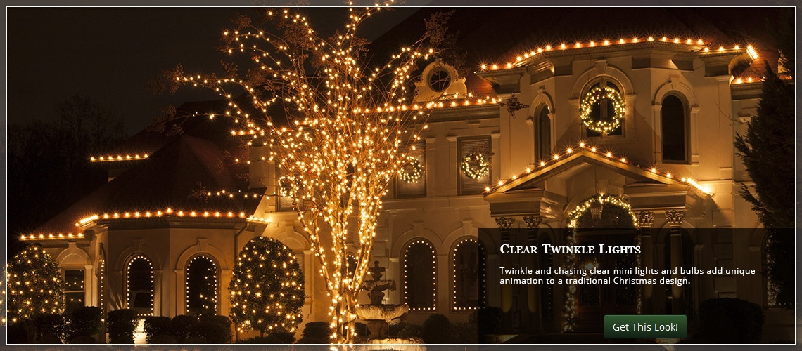 twinkle christmas lights for the roof - Traditional Outdoor Christmas Decorations