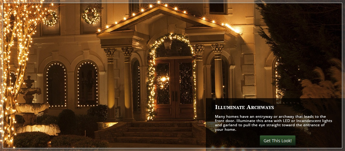 frame front archways with Christmas lights and garland